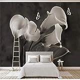rylryl Muralflores blancas negras ricohomenajeado calla lily mariposa papel tapiz 3D sala de estar dormitorio fondo de pantalla mural-300x210CM