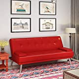 <span class='highlight'><span class='highlight'>PANANASTORE</span></span> 3 Seater Click Clack Sofabed, Faux Leather PU Padded Sofa Bed Chrome Legs Reclining Sofa Sleep Settee with 2 Cushions-5 Colors