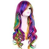 KOLIGHT Girls Long Curly Rainbow Cosplay Party Costume...