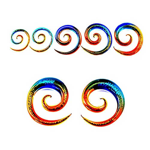 WOERD Expansores Oreja de Túnel Acrílico, Dilatadores Oreja Espiral Expansor Plug Taper Espiral 4G - 1/2'(5-12MM) para Oídos Orejas Perforación ExpansiónRed-2 Pairs 6mm