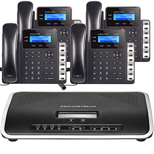 grandstream business phones Business Phone System: Starter Pack with Auto Attendant, Voicemail, Cell & Remote Phone Extensions, Call Recording & Free Mission Machines Phone Service for 1 Year (4 Phone Bundle)