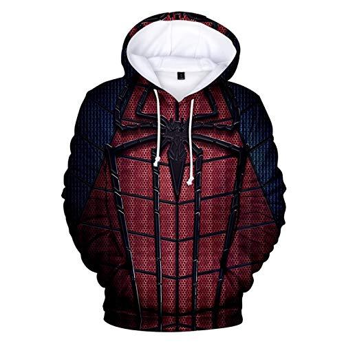 Atecou 3D Marvel Spider-Man Cosplay Disfraz Sudaderas con Capucha Sudadera con Capucha Sudaderas con Estampado de superhroe con Bolsillos para Hombre Mujer Regreso a casa