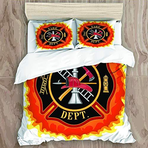 MOBEITI Bettwäsche-Set,Feuerwehr-Symbol mit Leiter Öffentlicher Dienst Grundlegende Werkzeuge von Feuerwehrleuten,Dekoratives 3-teiliges Bettwäscheset mit 2 Kissenbezügen,Einzelgröße(240 x 260cm)