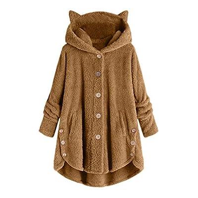 Sweatshirt Women's Fashion Casual Pretty Loose Hoodie Long Sleeve Tunic(Khaki,S)