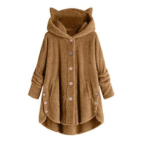 riou Sudadera con Capucha para Mujer Tamaño Grande Suéter Abrigo de Botón...