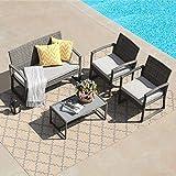 Patiorama 4 Pieces Outdoor Patio Furniture Set, Outdoor Wicker Conversation Set, Patio Rattan Chair Set, Modern Bistro Set with Coffee Table, Garden Balcony Backyard Poolside (Light Grey)