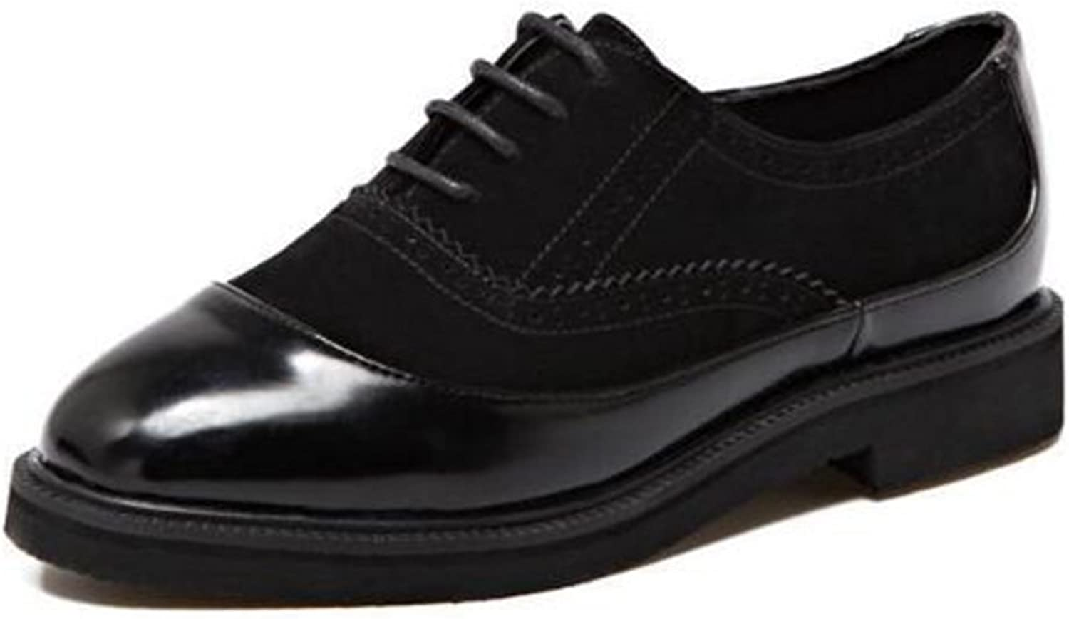 T-JULY Women's Wingtip Oxfords shoes - Comfy Low Heel Square Toe Lace-up Casual shoes