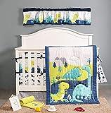 BAIGIO - Juego de ropa de cama para bebé (7 piezas, con faldón para cuna, edredón de 80 x 100 cm, protector de cuna para bebé, 100% algodón), diseño de dinosaurios