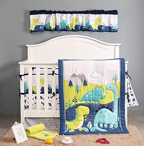 BAIGIO Juego de ropa de cama de bebé de 7 piezas con faldón de cama – Edredón de 80 x 100 cm – Protector de cuna bebé algodón – Juego de ropa de cama infantil OekoTex (Netter pequeño dinosaurio)