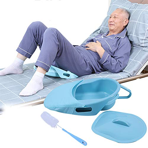 YFGlgy Fracture Bed Pan with Lid and Brush, Bedridden Bedpan for Elderly Incontinence Paralyzed Patients, Comfortable Slipper Bed Pan