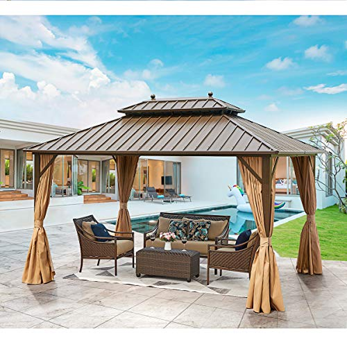 YOLENY 10' X 13' Hardtop Gazebo Galvanized Steel Outdoor Gazebo Canopy Double Vented Roof Pergolas Aluminum Frame with Netting and Curtains for Garden,Patio,Lawns,Parties