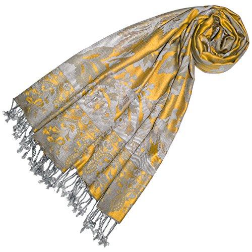 Lorenzo Cana Marken Pashmina Damen Schal Schaltuch Stola Umschlagtuch Naturfaser opulentes Muster in harmonischen gelb grau Farben mit Fransen 70 cm x 200 cm - 78444