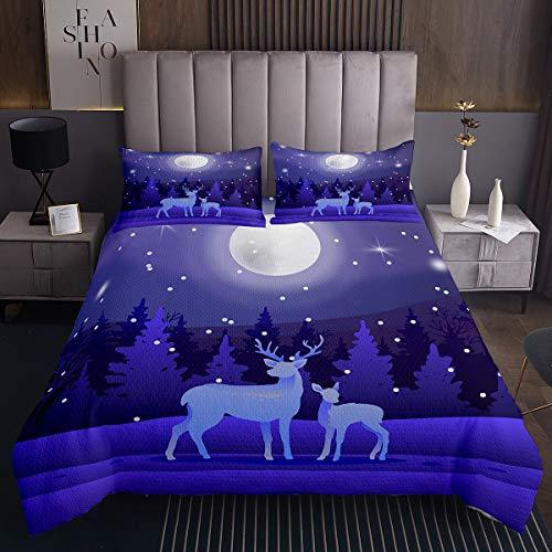 Colcha acolchada de ciervos, diseño de estrellas de la luna, para niños, niñas, adolescentes, decoración de árboles de montaña, paisajes naturales, juego de 3 piezas, tamaño doble