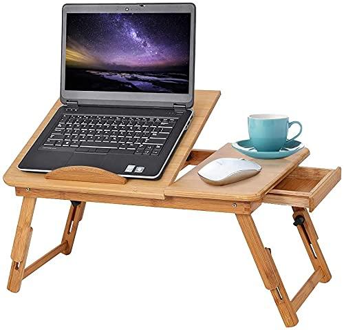GOTOTOP Mesa de cama de bambú para computadora portátil, bandeja de computadora de escritorio inclinable para...