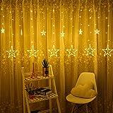 LED Lichterkette mit LED Kugel 12 Sterne 138 Leuchtioden Lichtervorhang Sternenvorhang 8 Modi Innen & Außenlichterkette Wasserdicht dekoration für Weihnachten Deko Festival Zimmer Fenster - Warmweiß - 5