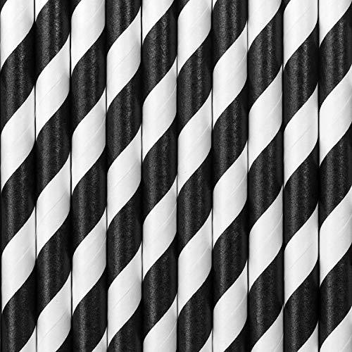Schnooridoo Papier Strohhalm Trinkhalm Geburtstag Hochzeit Party Kindergeburtstag 20 Sorten (schwarz weiße Streifen)