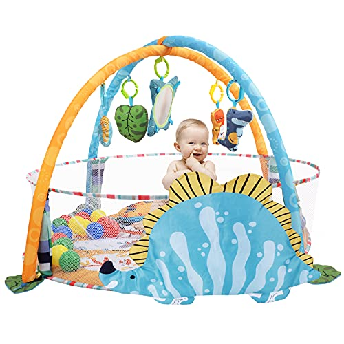 BATTOP Baby Play Gym 4-in-1 Jumbo Activity Gym Mat with Ball Pit for Sensory Exploration & Motor Skill Development,Non Slip Baby Activity Play Mat & Tummy Time for Newborns,Babies,Toddlers(Green)