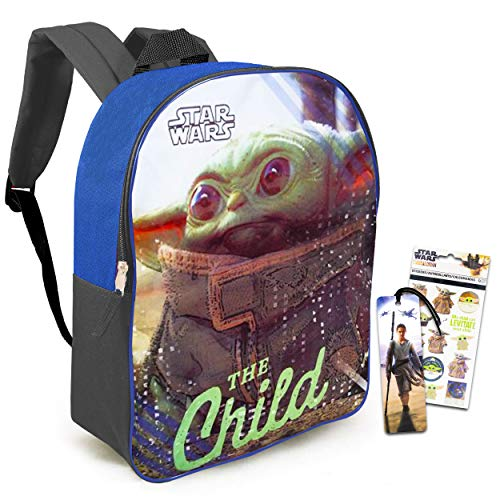 Star Wars Mandalorian The Child School Supplies Set Baby Yoda Activity Bundle - Large 16  Baby Yoda Backpack with Stickers and Bookmark (Mandalorian Luggage)
