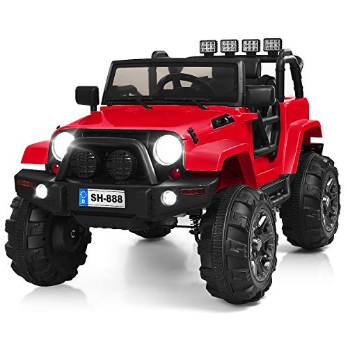 Costzon Ride On Truck, 12V Battery Powered Electric Ride On Car w/ 2.4 GHZ Parental Remote Control, LED Lights, Double Open Doors, Safety Belt, Music, MP3 Player, Spring Suspension (Red)