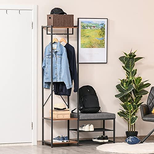 HOMCOM Perchero con Zapatero Banco para Zapatos Barra para Colgar y Estantes para Entrada Pasillo Dormitorio 104,5x42x180,5 cm Negro y Nogal Oscuro