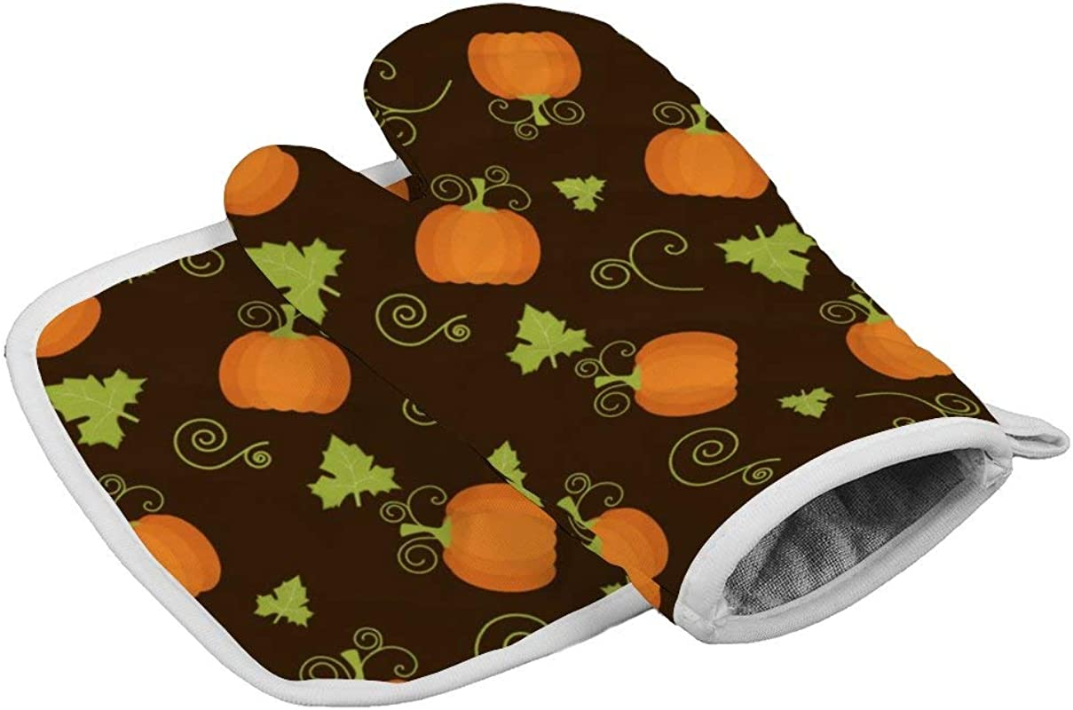 Insulation Gloves Pumpkins Thanksgiving 2 Oven Mitts Professional Heat Resistant To 500 C Thickening Version Non Slip Kitchen Oven Gloves For Cooking Baking Grilling Barbecue Potholders