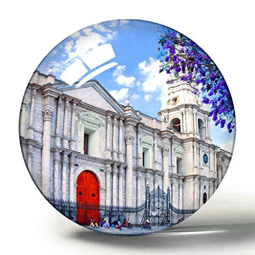 Hqiyaols Souvenir Plaza de Armas Arequipa Perú imán de Nevera 3D colección de Recuerdos Regalo de Viaje círculo Cristal imanes de refrigerador
