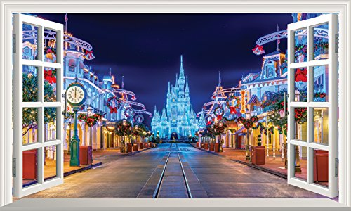 Chicbanners Disney V001 Wandtattoo/Wandaufkleber, Motiv Aschenputtel Castle Main Street (englischsprachig), 1000 mm breit x 600 mm tief