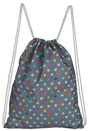 moses. Rucksack Sterne, Faltbarer Backpack, umweltfreundlich, wiederverwendbar Turnbeutel, 42 cm, Mehrfarbig