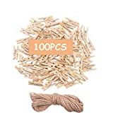 Areedy Mini Wood Clothes Pins 3.5cm Sturdy Mini Clothespins Photo Clips with Jute Twine 100PCS Multi-Function Paper Peg Pin Craft Clips