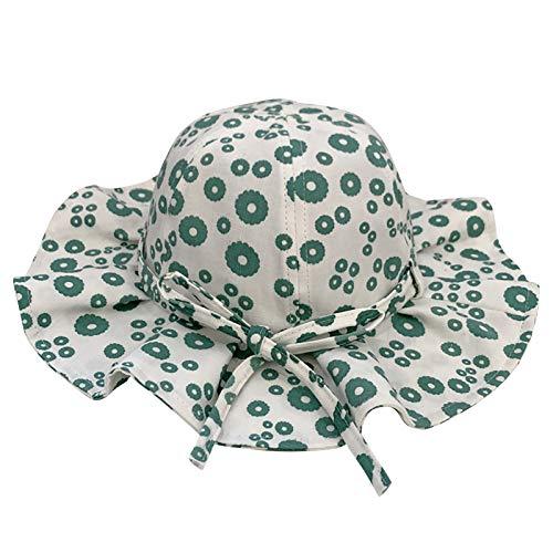VESNIBA Sombrero de sol para niñas, cubo ajustable, para bebés, niñas, niños, niños, niños, protección solar UPF 50, unisex verde 46-48