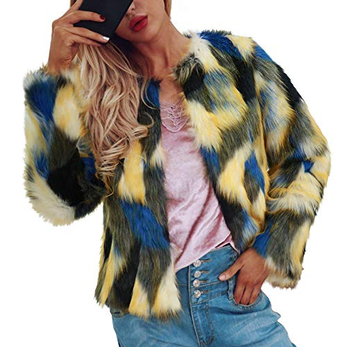 OIKAY Pullover Damen locker Damen Pullover Warm Faux Pelzmantel Jacke Winter Farbverlauf Frauen Parka Oberbekleidung