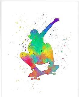 Abstract Skateboarder Sport Wall Art 8x10