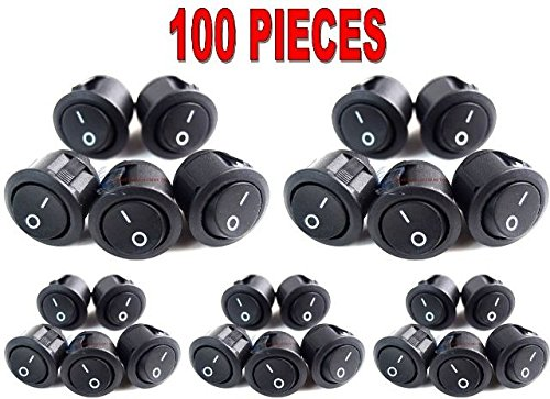 100 Pcs Black Rocker Switches 12 Volt On/Off Toggle Car Audio Power Fog Light