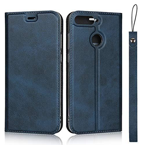 Hülle für Huawei Honor 7A / Huawei Y6 2018, SONWO Ultra dünn PU Ledertasche Flip Brieftasche Handyhülle für Huawei Honor 7A / Huawei Y6 2018, mit Karteneinschub und Magnetverschluss, Blau