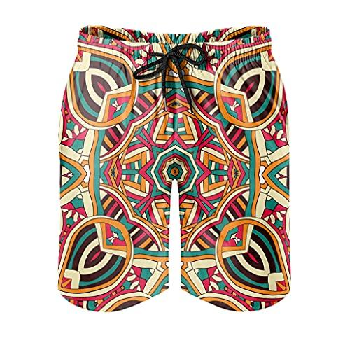 Gamoii Bañador para hombre, diseño azteca, surf, con forro de malla, con cordón, bolsillos laterales, Hombre, Blanco, 6XL
