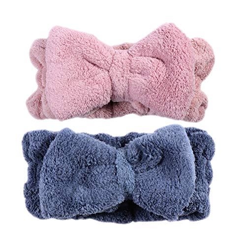 Coral Bowtie Haarband, zachte elastische gezichtsverzorging voor vrouwen en meisjes Medium blauw en roze.