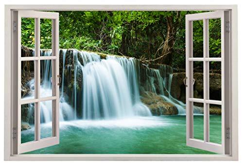 PAPER PLANE DESIGN 3D Wall Window Vinyl Sticker Wallpaper Beautiful Waterfall View (90 cm X 60 cm)