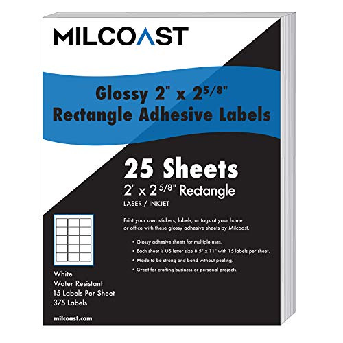 """Milcoast Glossy Adhesive 2"""" x 2-5/8"""" Rectangle Shaped Labels - for Laser/Inkjet Printers - 375 Labels (25 Sheets)"""