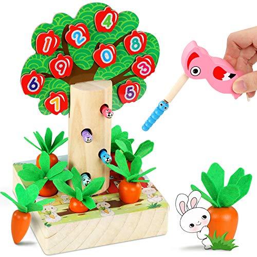 LETOMY Magnetische Holzspielzeug, 3 in 1 Kinderspiel, Specht Raupen Fangen Spiel Karottenspiel, Dekoratives Apfelbaumspielzeug in Form und Größe Sortieren Spielzeug mit 3 Karottengrößen Kleinkinder