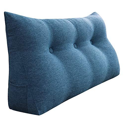 VERCART Kopfkissen Rückenkissen Nackenrolle für Bett Sofa Kopfteil Wohnzimmer Schlafzimmer mit Waschbar Bezug Leinen Blau 100cm