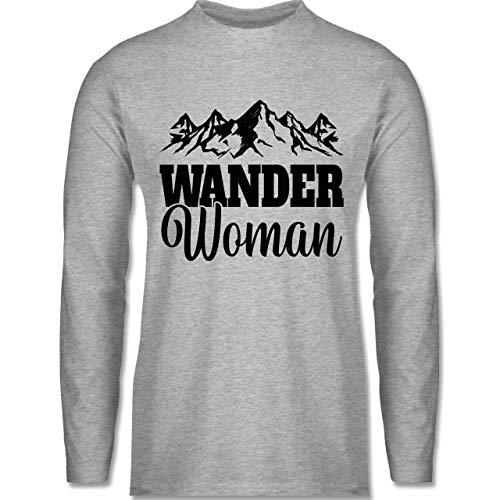 Sonstige Sportarten - Wander Woman - schwarz - XL - Grau meliert - Berge - BCTU005 - Herren Langarmshirt