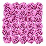 BELLE VOUS Rose Artificielle Fuchsia (50Pcs) - Réaliste Mousse Faux Roses avec Tige 19cm - Artificielle Fleurs pour DIY Bouquets de Mariage, Centres de Table, Home, Parti Décor, Arrangements Floraux