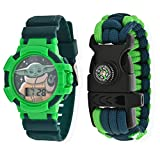 Baby Yoda Kids Watch – Paracord Bracelet with Compass Set Star Wars Toys – The Mandalorian Toddler Watch – Premium Digital Watch with Accurate Time Telling – Ideal for Birthday, Party Favors