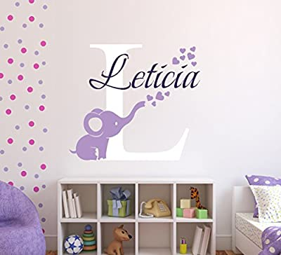 Personalized Elephant Hearts Name Wall Decal - Elephant Baby Room Decor - Nursery Wall Decals - Hearts Wall Decal Vinyl Sticker Decalzone Inc