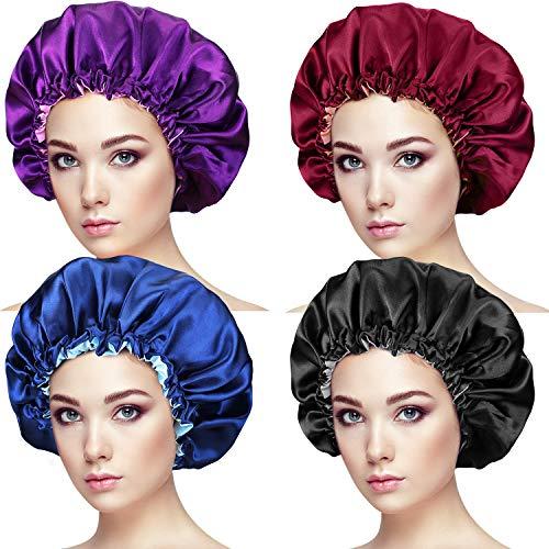 4 Stück Schlafhaube Seide Locken, verstellbare Satin-Haube, extra große Schlafmütze, doppellagig, wendbar, Kopfbedeckung für Damen, schützende Frisuren