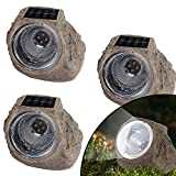 MAGGIFT 3 Pack Solar Rock Lights, Solar Powered Garden Stone Light Outdoor Decorative Waterproof LED Spotlight for Decor, Ground, Driveway, Pathway, Walkway, Landscape, Yard and Patio