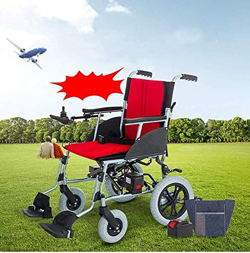 FTFTO Home Accessories Elderly Disabled Lightweight Folding Remote Control Electric Wheelchair Motorized Silver Lightest Weight Folding Airplane and Cruise Ready