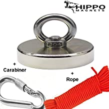 """Fishing Magnet with Rope & Carabiner - 500 LBS Pull Force Neodymium Magnet KIT for Magnet Fishing, 2.95"""" Diameter Strong Heavy Duty Magnets Fishing by HIPPO MAGNETS"""