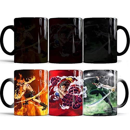 One Piece Tasse Becher Anime Monkey D Ruffy Farbwechsel Kaffeetasse Thermoeffekt Wasser Kaffee Keramik Tasse Becher Geschenk zum Weihnachten Geburtstag