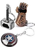 Sio & Tan Captain America Keychain Shield Opener Thor Hammer Mjolnir Keychain Bottle Opener Thanos Glove Infinity Gauntlet Keychain Bottle Opener